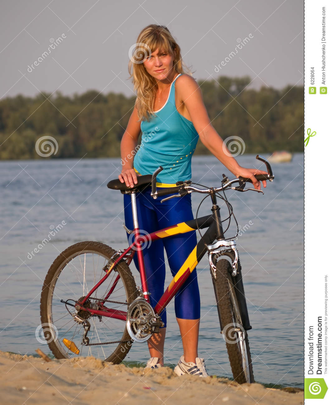 More similar stock images of ` Female cyclist posing outdoors `