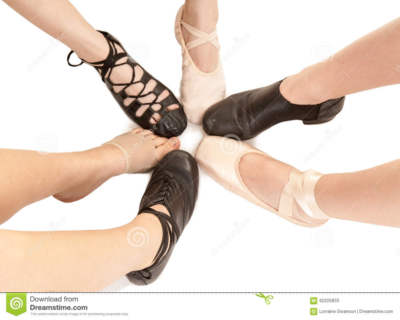 Hairstyles For A Lyrical Dance : Female dance feet in different shoes stock photo image