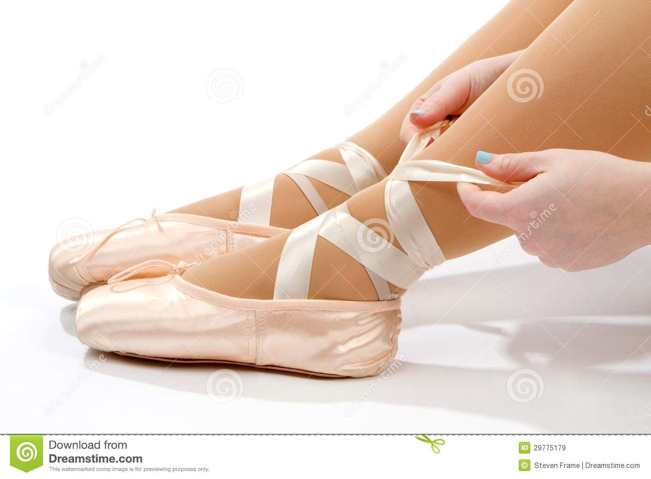 tying ballet slippers royalty free stock images image