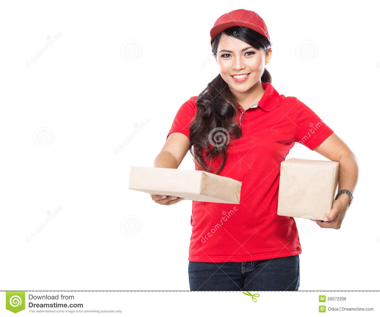 Female delivery service happily delivering package to costumer  sc 1 st  Dreamstime.com & Female Delivery Service Happily Delivering Package To Costumer Stock ...