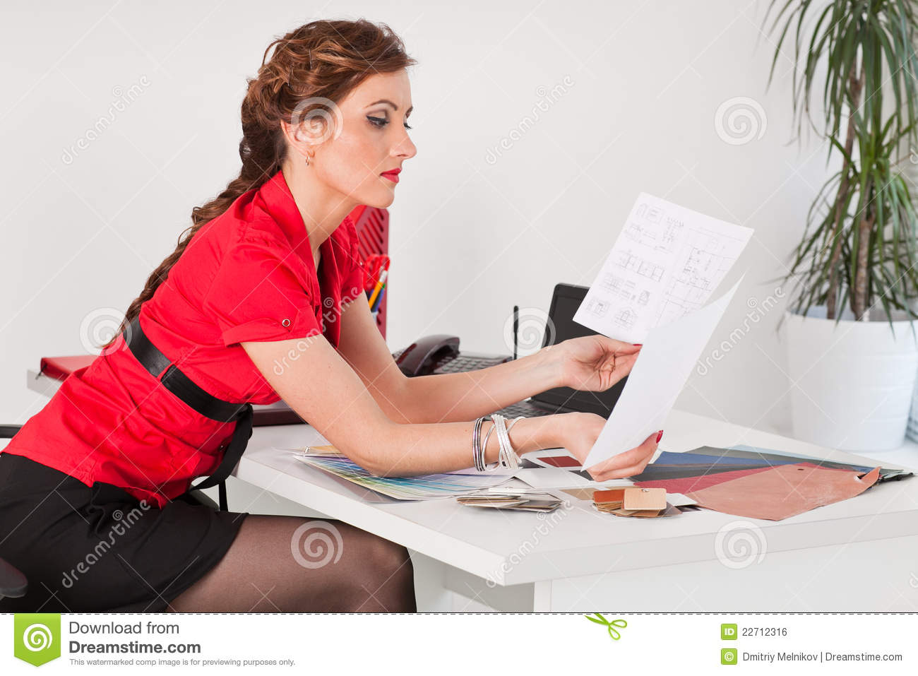 Female Designer Of Interior Stock Photo Image Of Happy