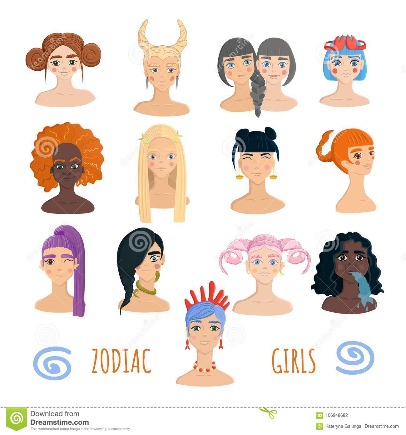 Zodiac Girls Collection Isolated On White Background Stock Vector