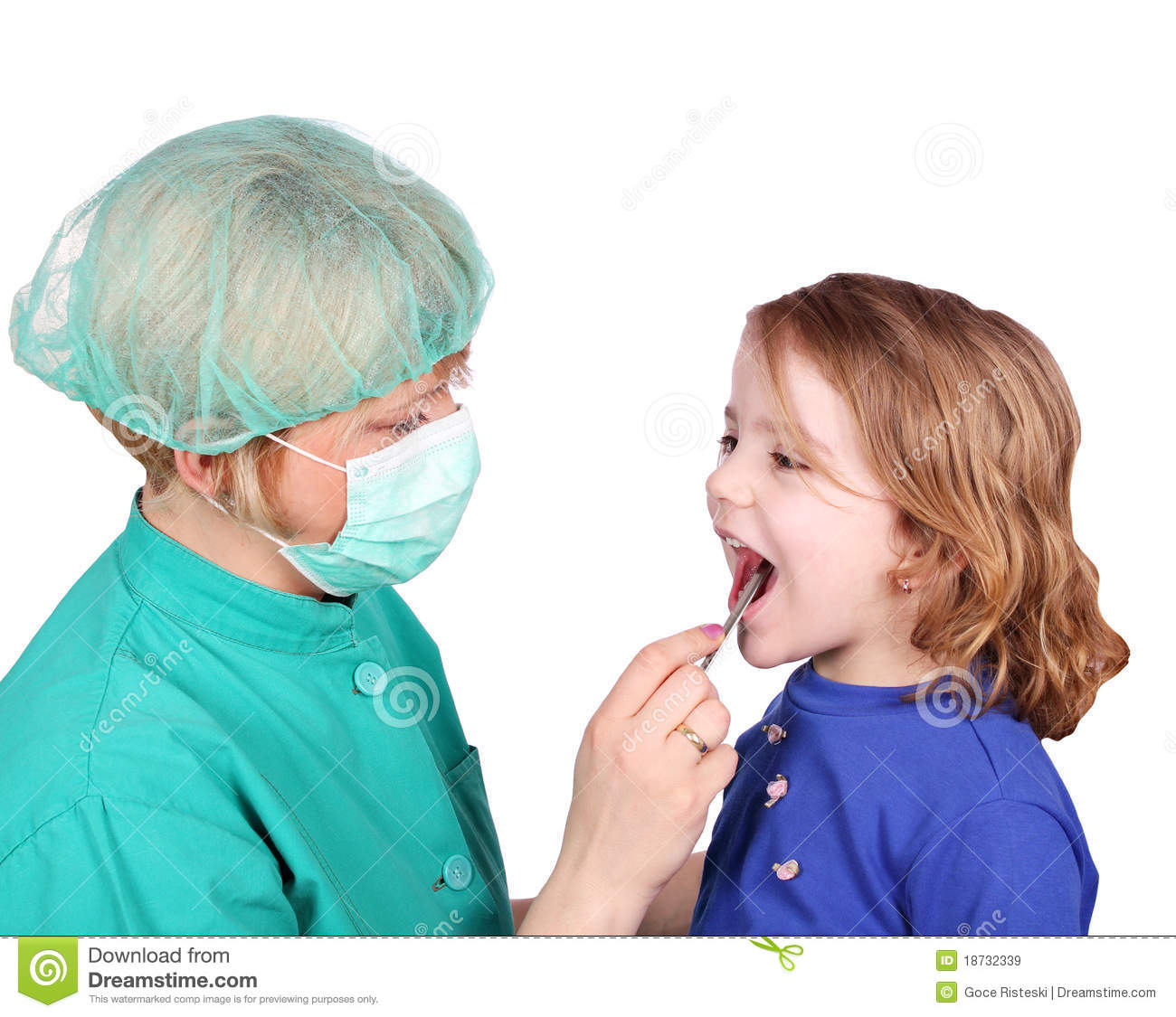 Female Doctor Examines The Throat Stock Image - Image of healthcare