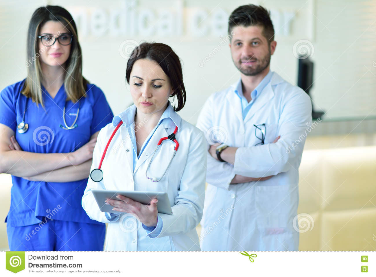 Female doctor leading a medical team at the hospital