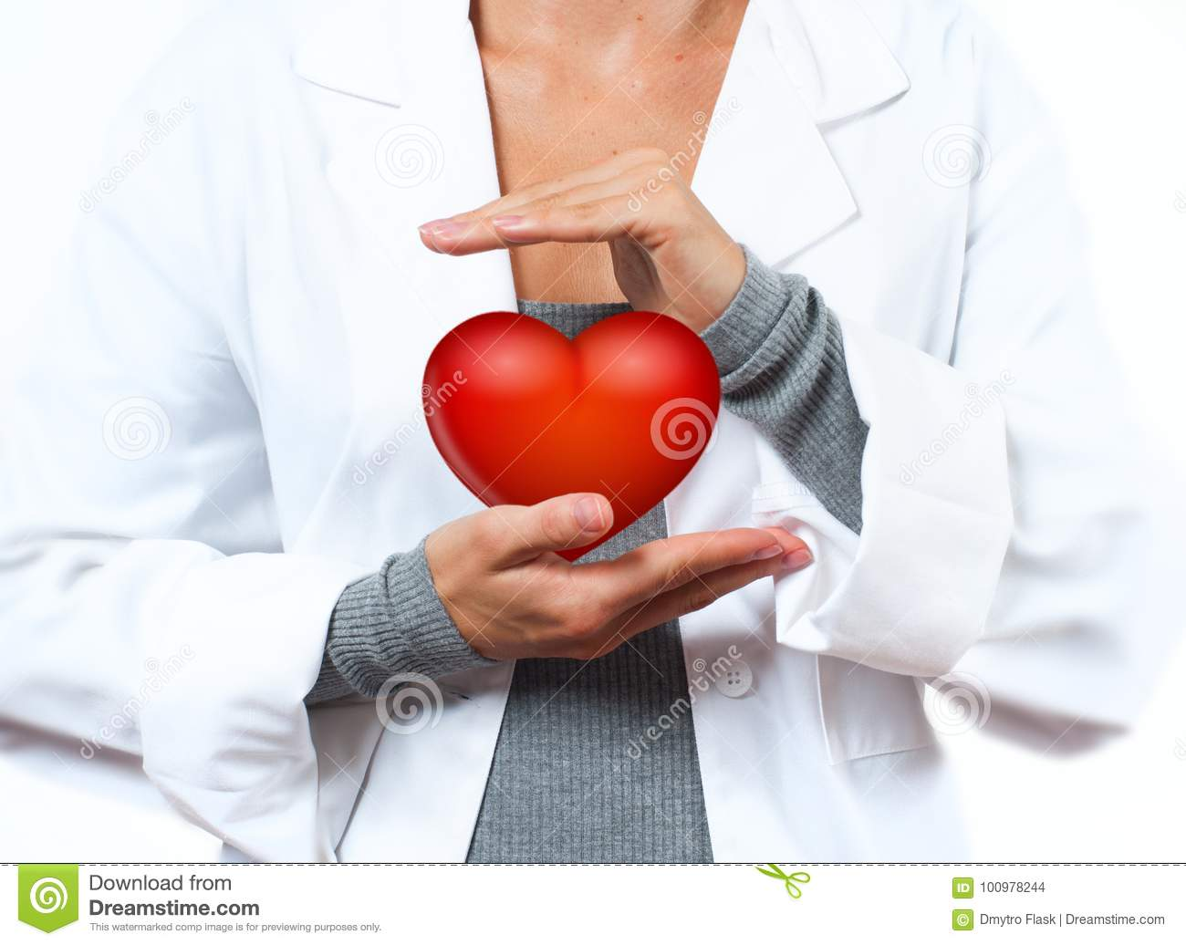 Female Doctor is making heart shape. Medical Concept