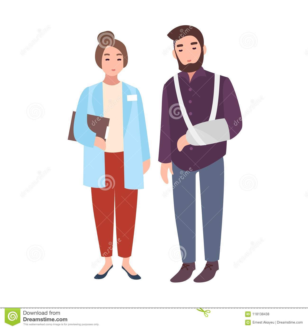 Female Doctor Or Medical Adviser And Patient With Broken