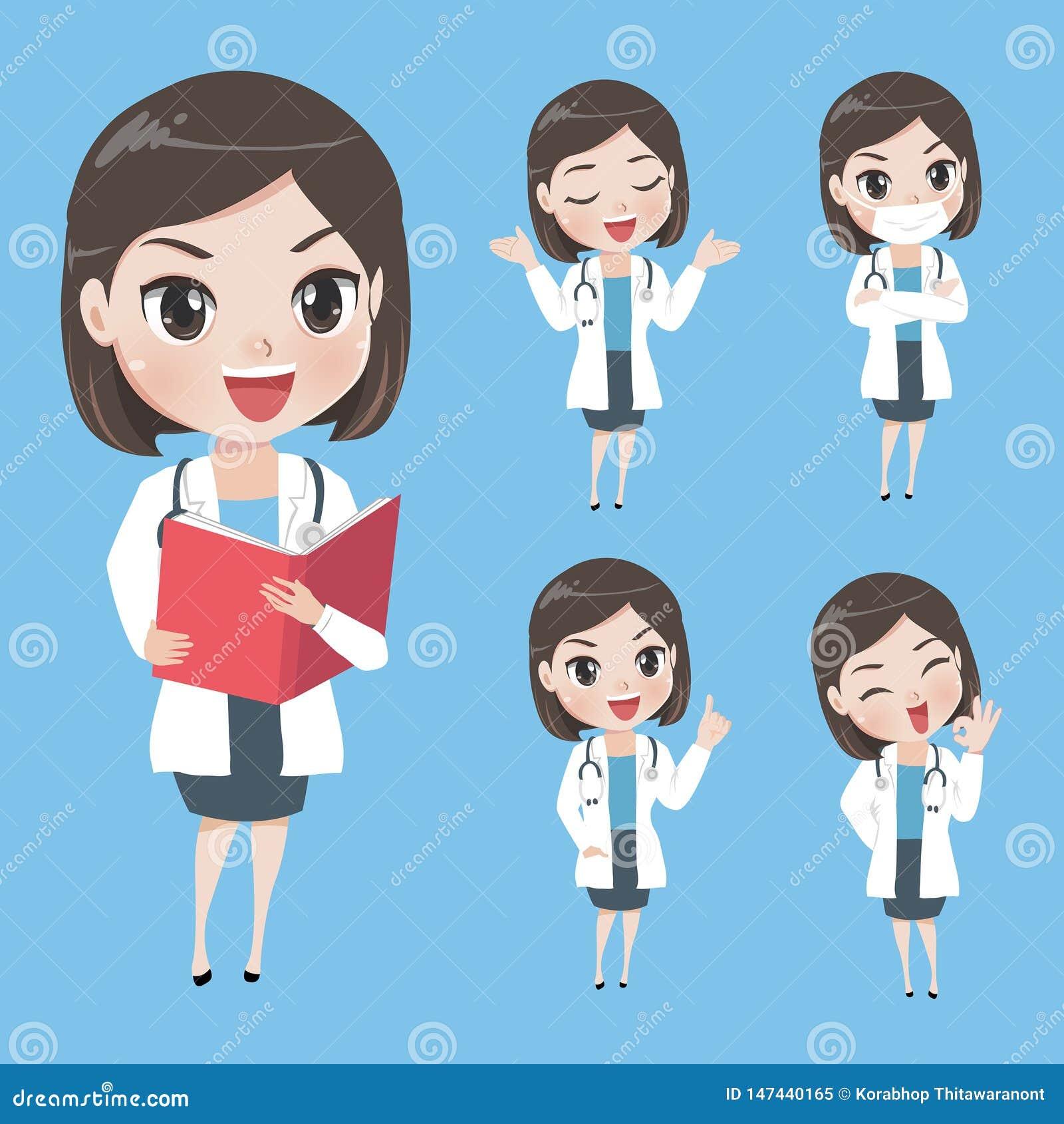Female doctors in various gestures in uniform