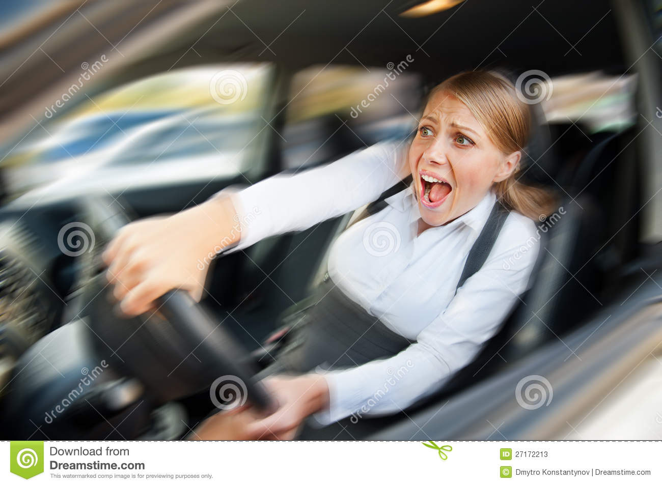 Female Driving The Car And Screaming Stock Photos - Image: 27172213