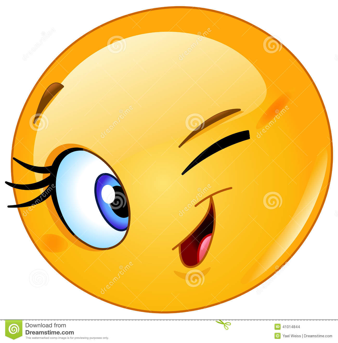Female emoticon winking stock vector. Illustration of ...