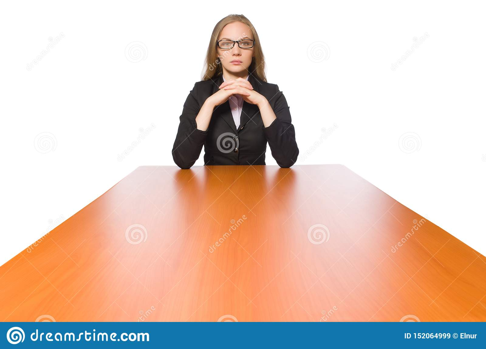 Female employee sitting at long table isolated on white
