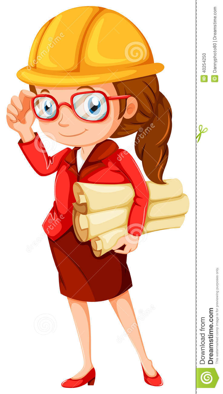 a female engineer stock vector
