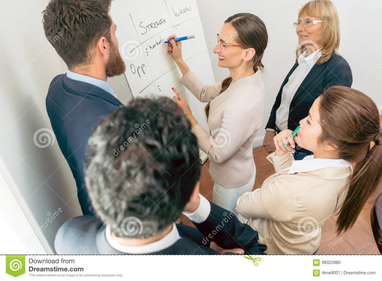 Female executive director writing on a paper board the positive