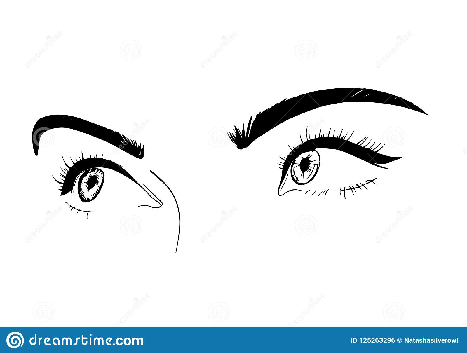 Female Eyes Close Up Drawing Sketch A Flirtatious Look Vector