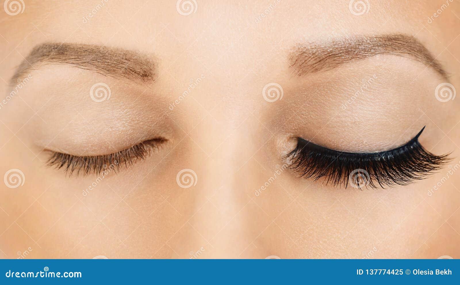 Female eyes with long false eyelashes, befor and after effect. Eyelash extensions, make-up, cosmetics, beauty