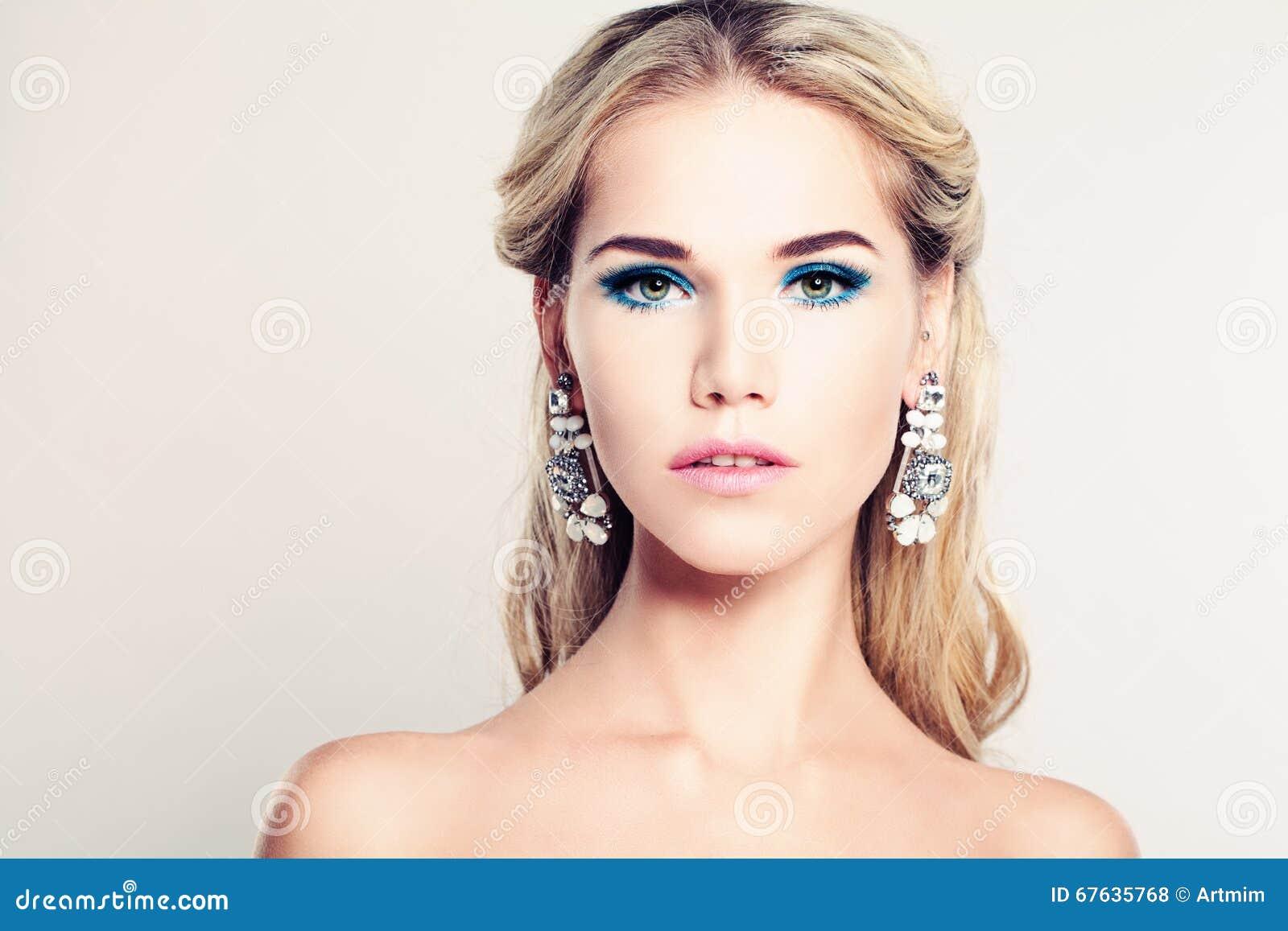 Female Face. Beautiful Fashion Model Woman Stock Photo ...