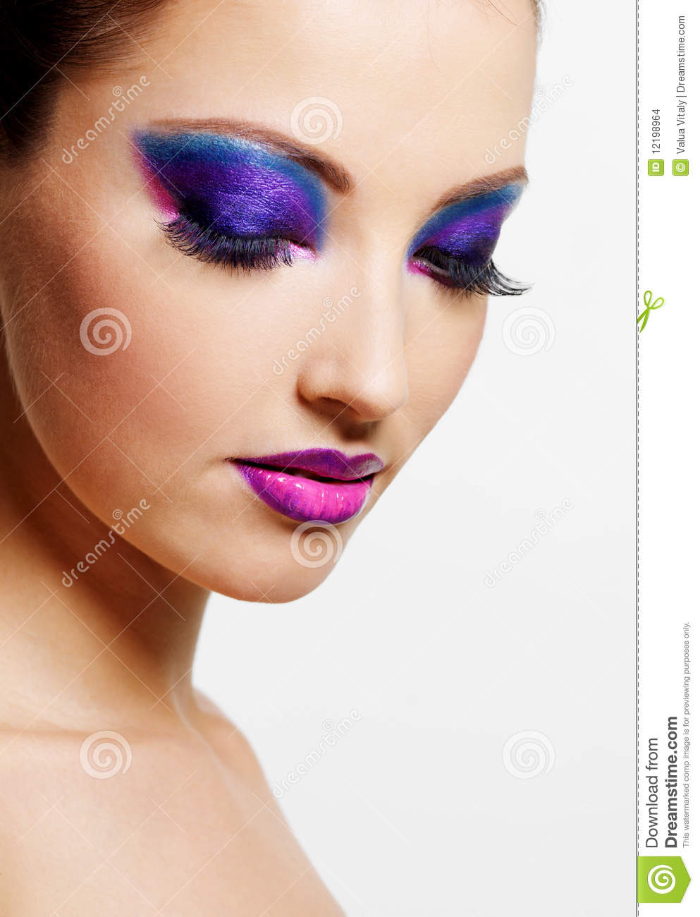 Beauty Make Up: Female Face With Bright Beauty Fashion Make-up Stock Photo