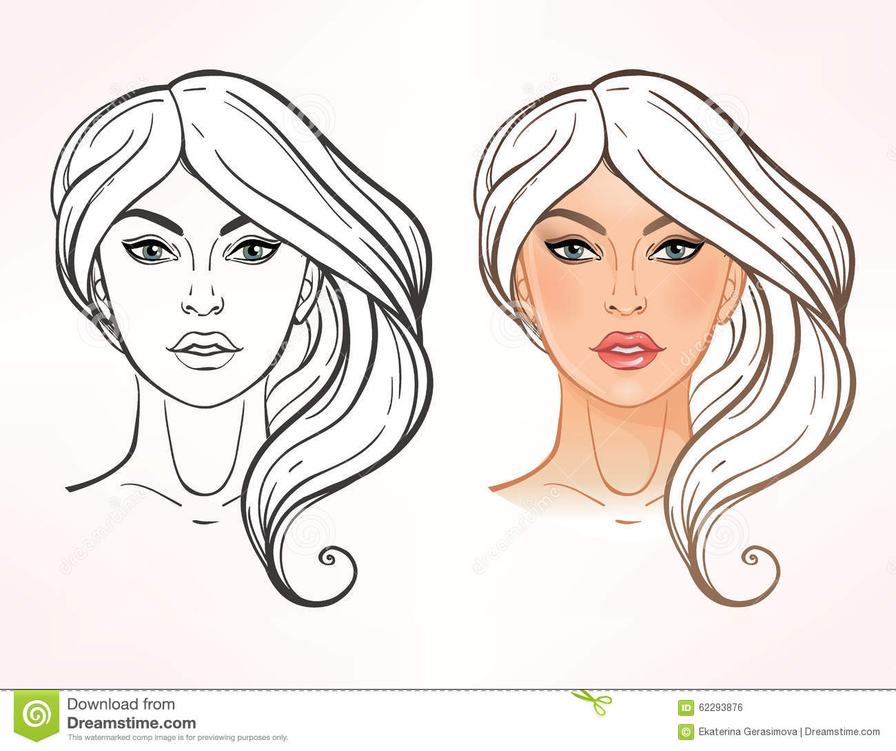 Face chart Makeup Artist Blank. Elegant Template. Color and linear ...