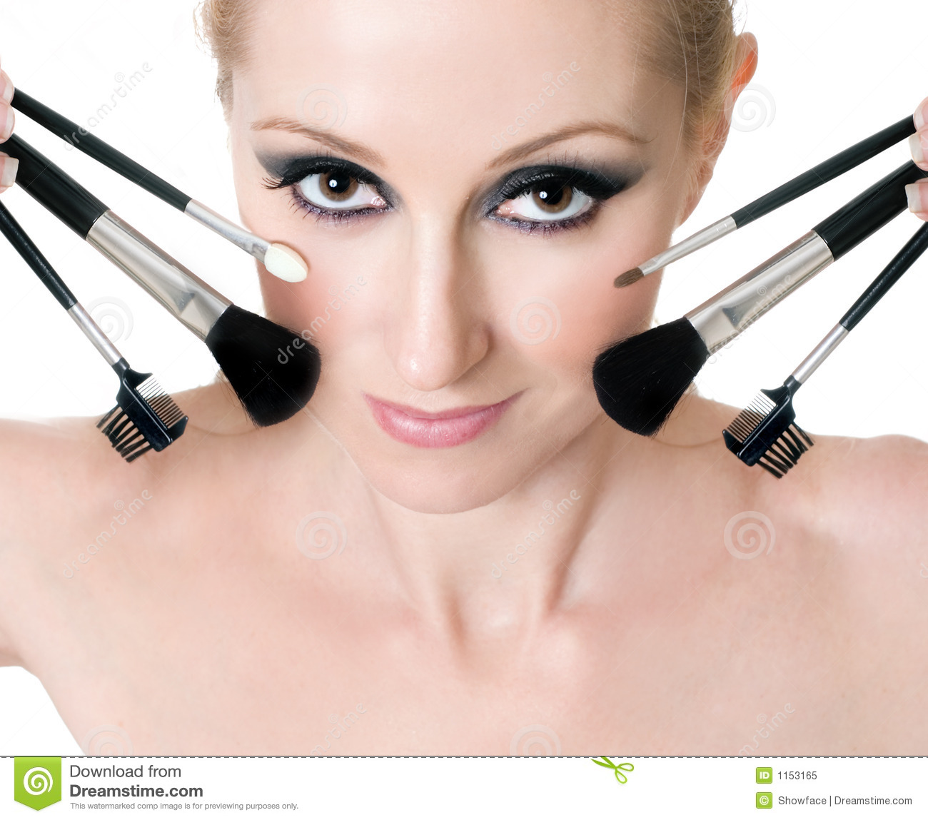 Female Face With Cosmetic Makeup Brushes Royalty Free