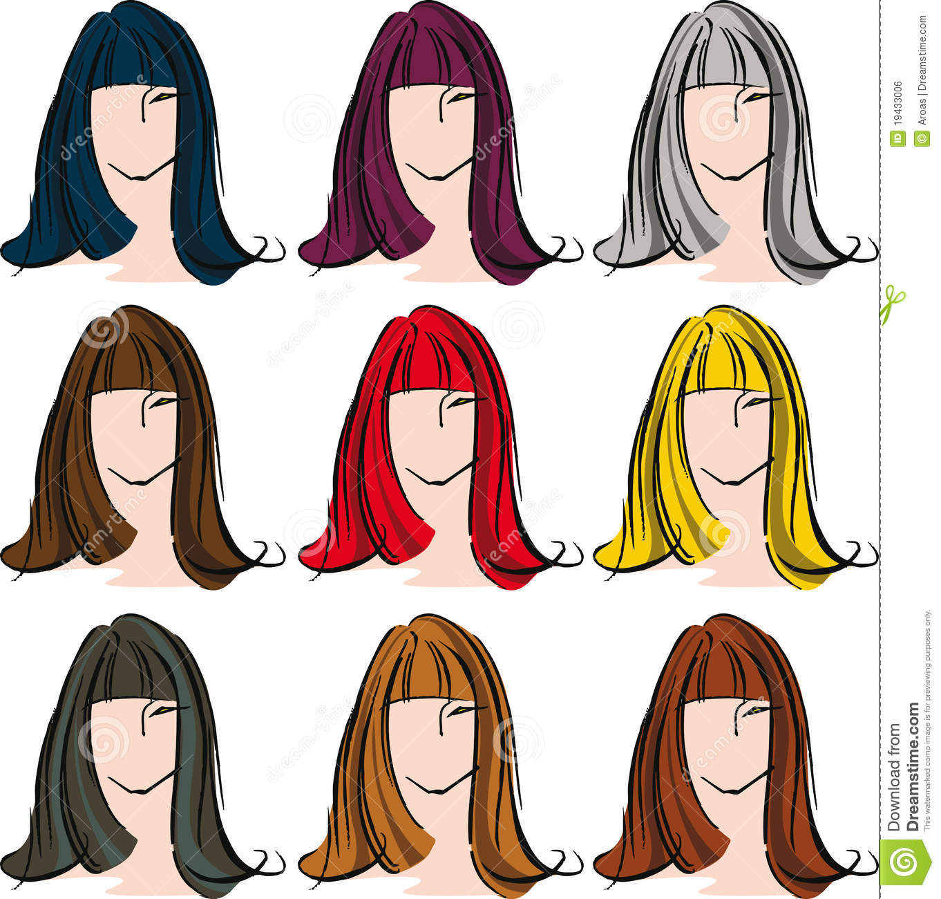 Female Face With Different Hair Color Stock Vector
