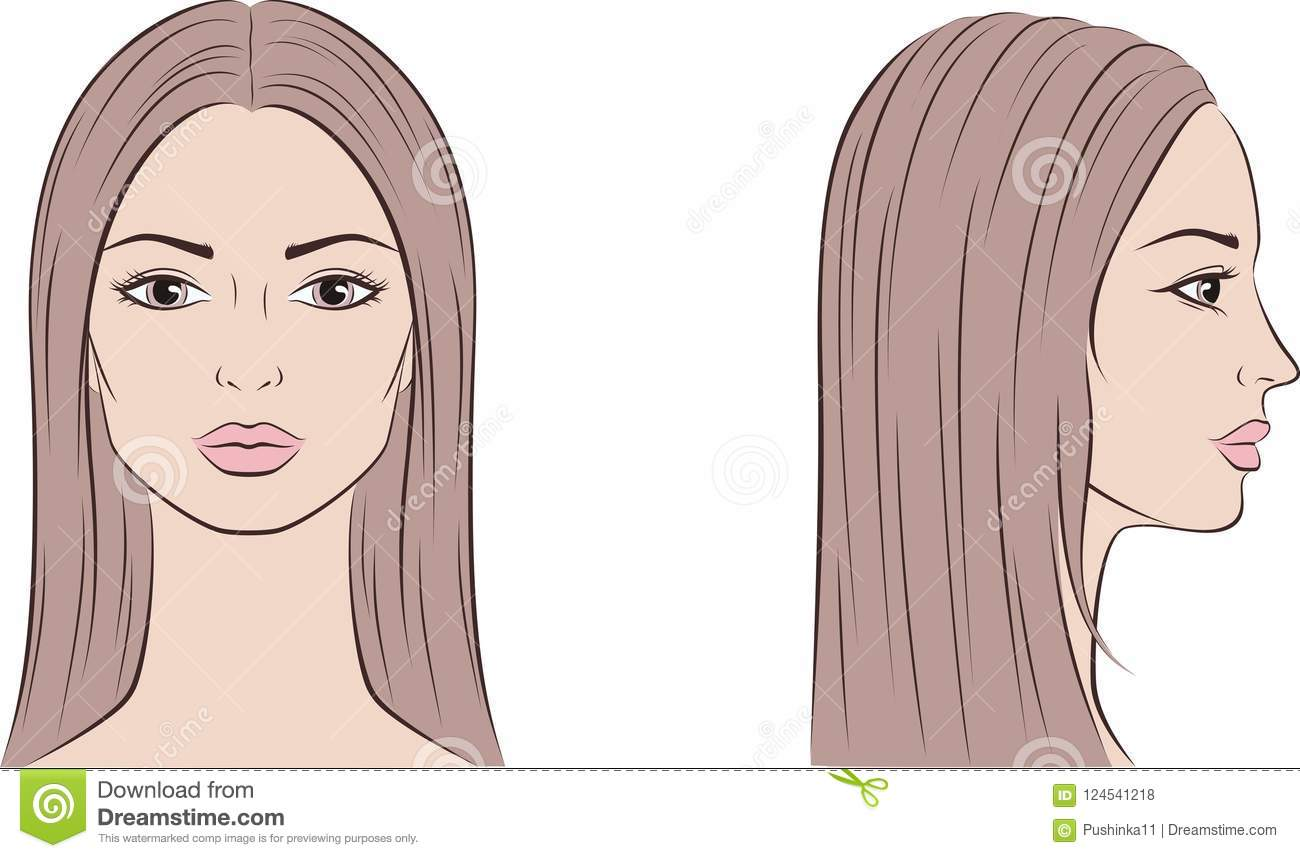 Female Face With Long Hair Front And Side Stock Vector