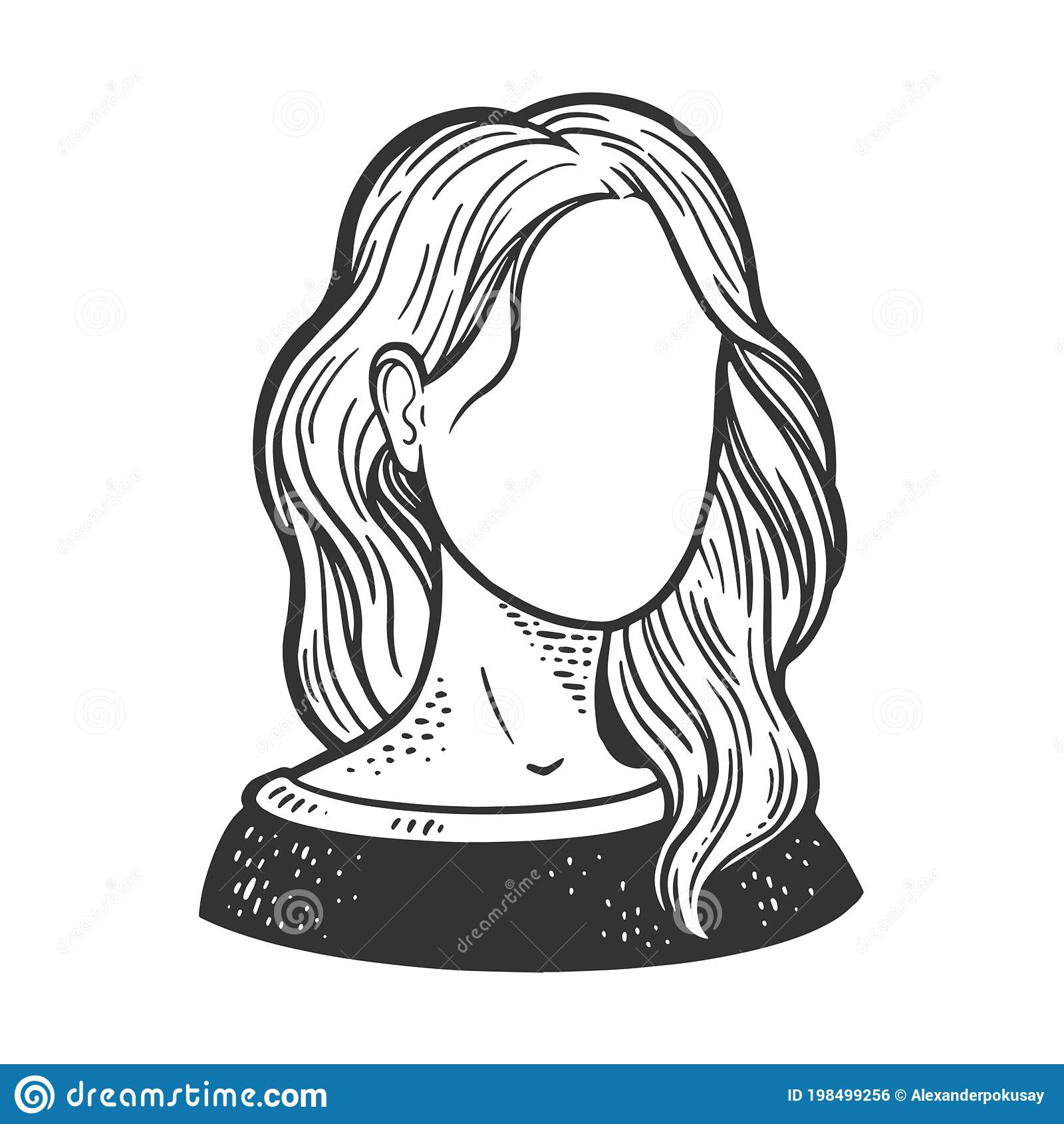 Female Face Template Sketch Vector Illustration Stock Vector