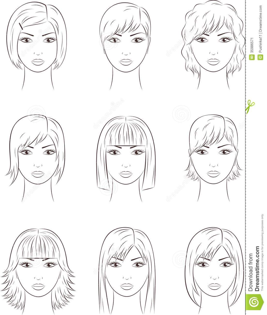 Hair Style Template: Female Face Stock Image