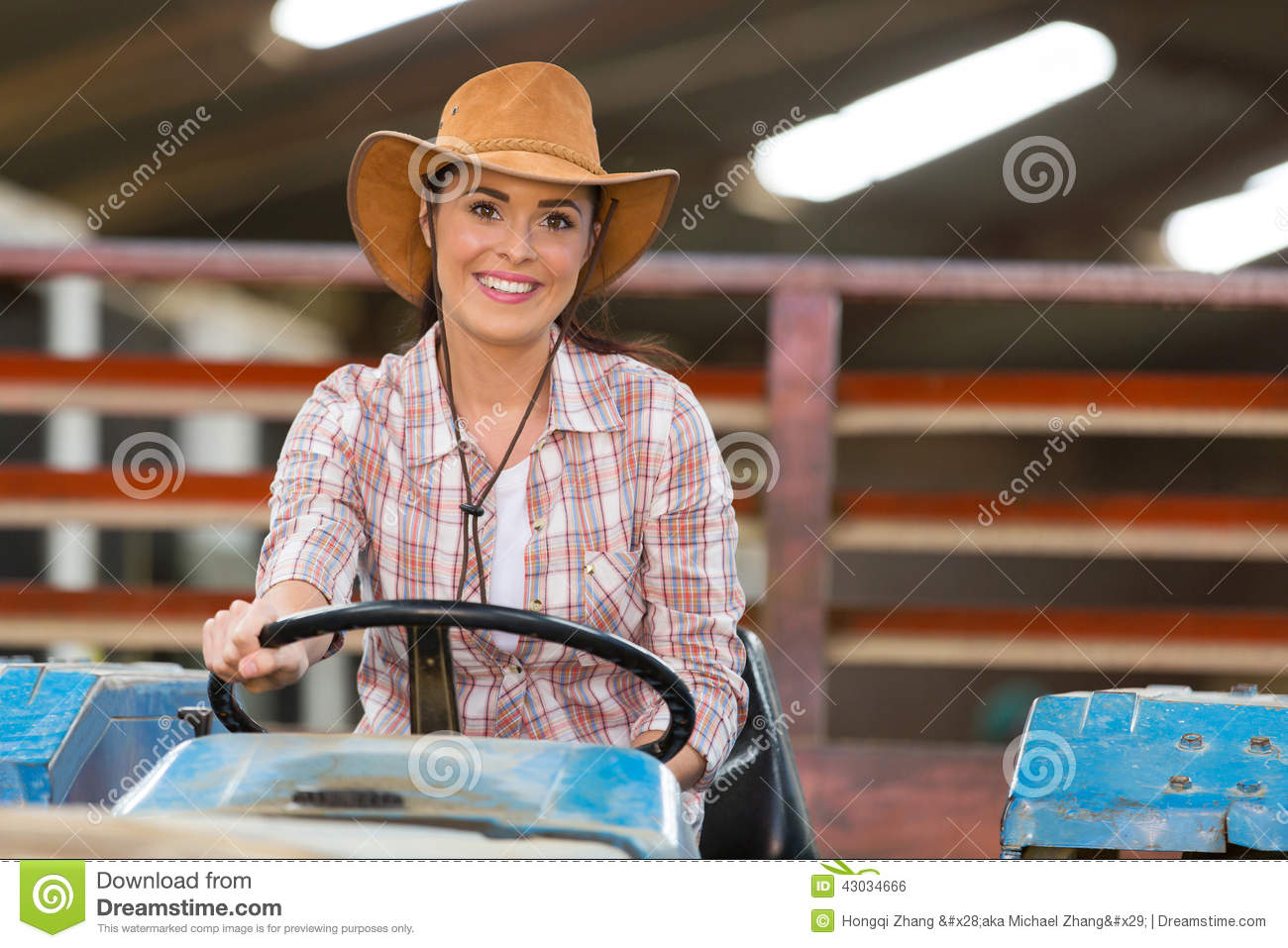 Female Farmer Driving Tractor Stock Photo - Image: 43034666