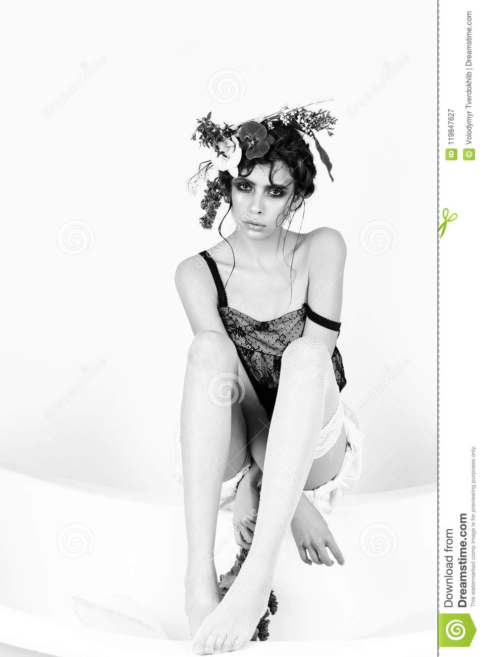 ead622124d6 Female Fashion, Beauty And Advertisement Concept. Girl With Flowers ...