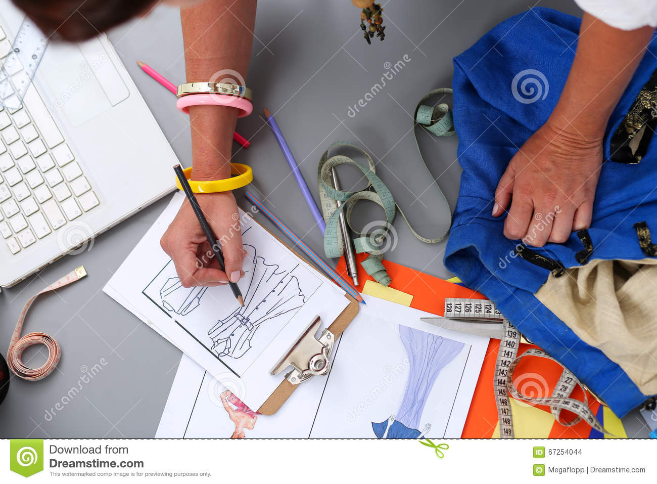 Female Fashion Designer Hands Holding Drawing Pad And Pen Stock Photo Image Of Design Idea 67254044