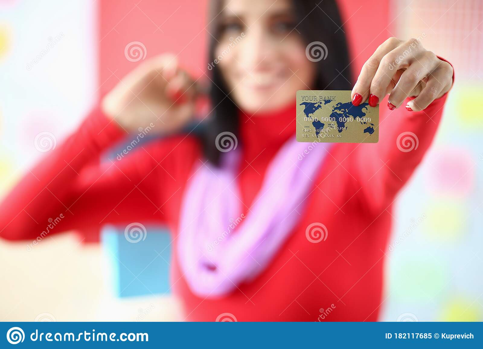 Female Fashion Designer Holding Credit Card Hands Stock Image Image Of Dummy Garment 182117685