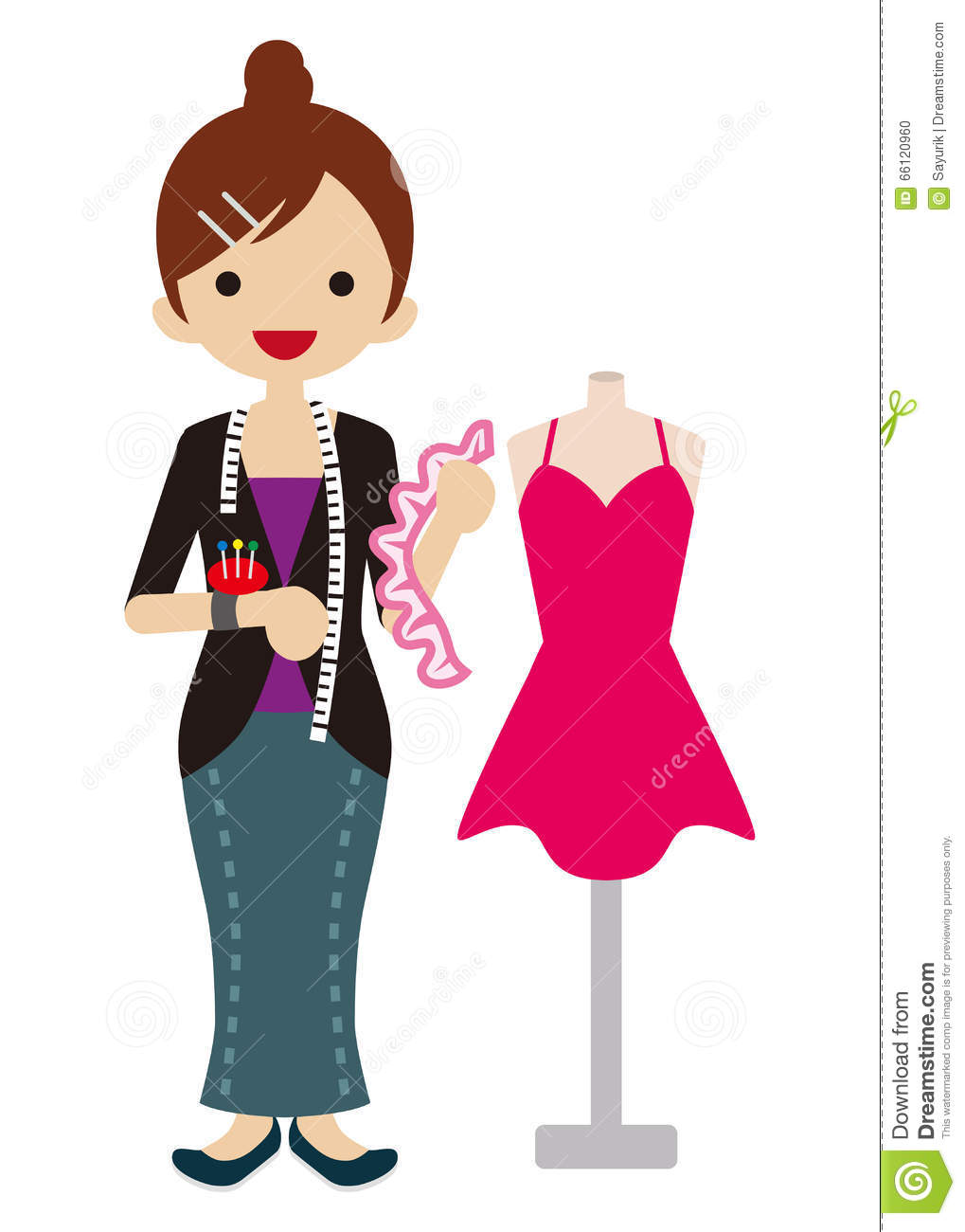 Character Design Icon : Female fashion designer stock vector illustration of