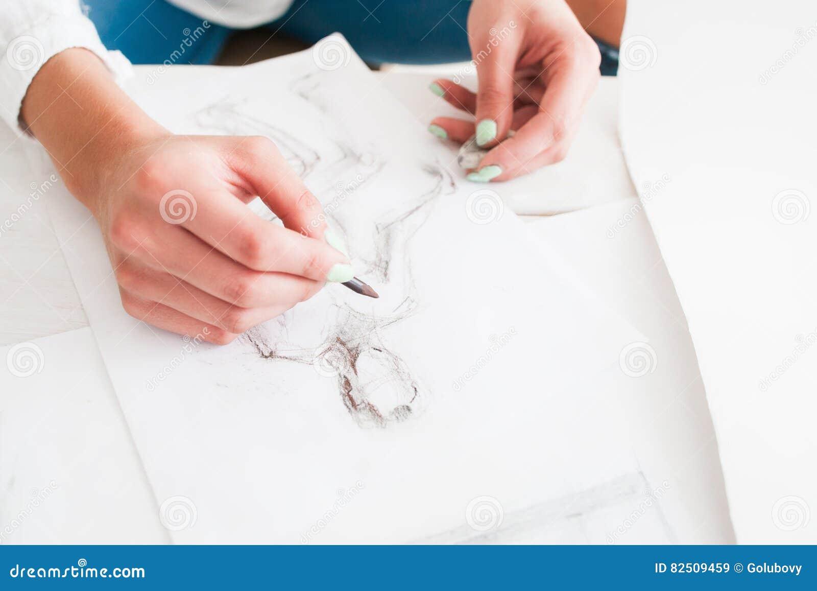 Female Fashion Designer Sketching At Workshop Stock Image Image Of Creative Fashion 82509459