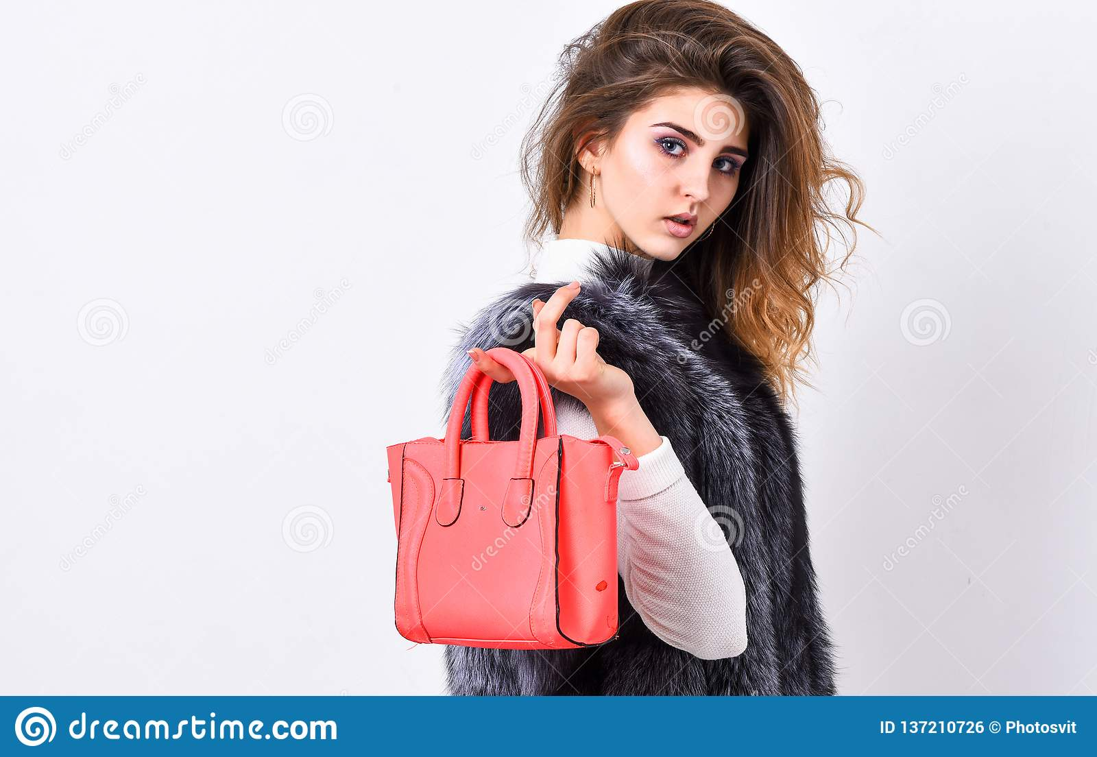 ddf1277c Woman in fur coat with handbag on white background. Girl fashion lady  stylish hairstyle wear mink fur coat. Fashion stylish accessory. Fashion  and shopping ...