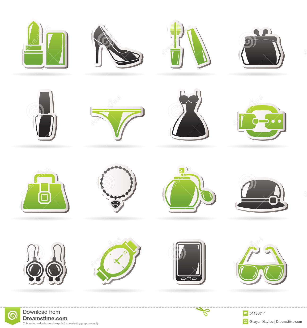 Female Fashion Objects And Accessories Icons Stock Vector ...