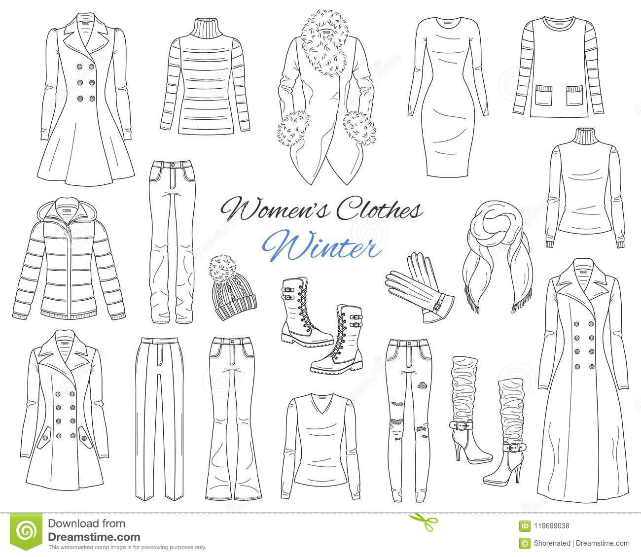 Women S Clothes Collection. Winter Outfit. Vector Sketch ...