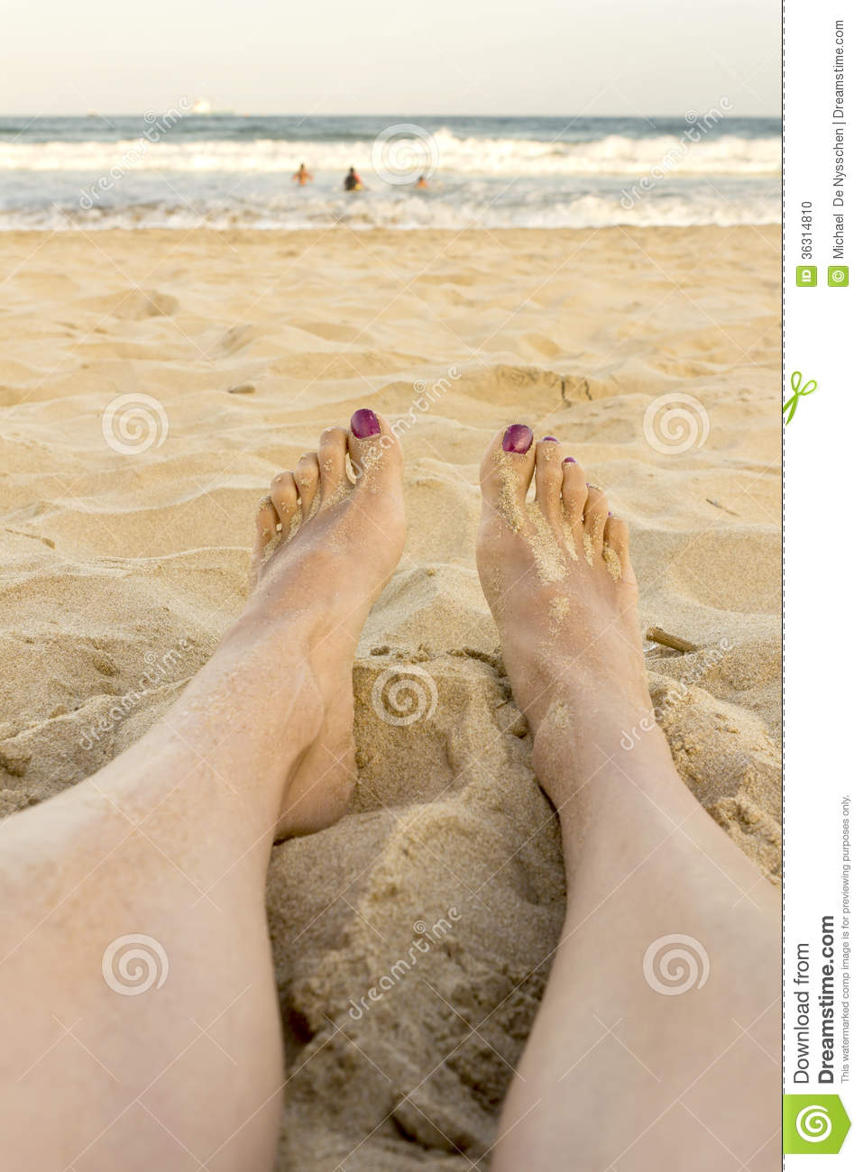 Female Feet On The Beach Woman Watching Ocean Stock Photo ...