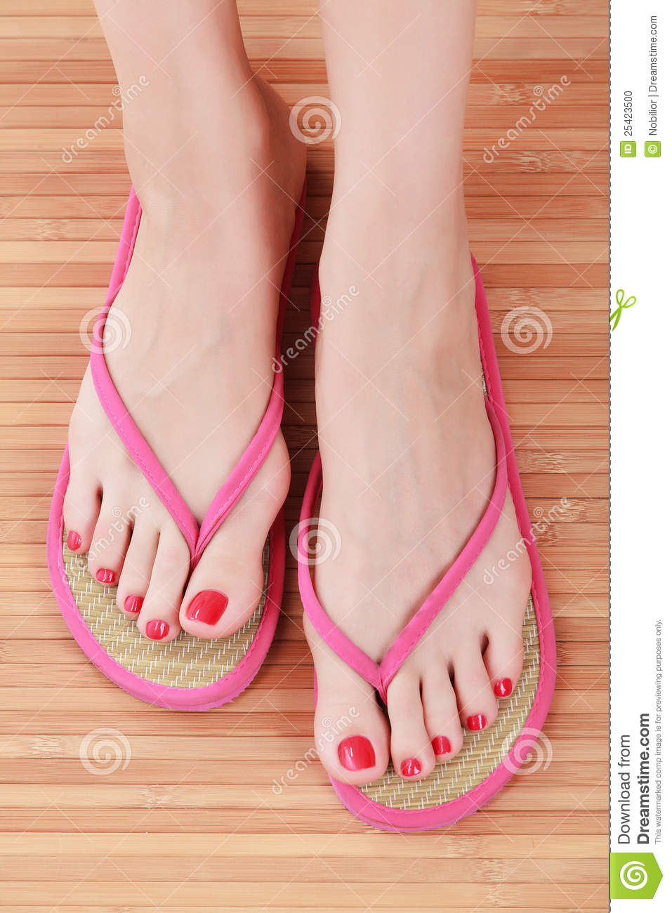 Female Feet With Flip Flops Stock Photo Image Of Pretty