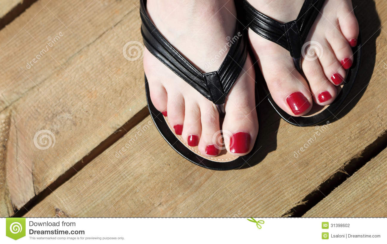 Female Feet With Flip-flops Red Nail Stock Photography ...