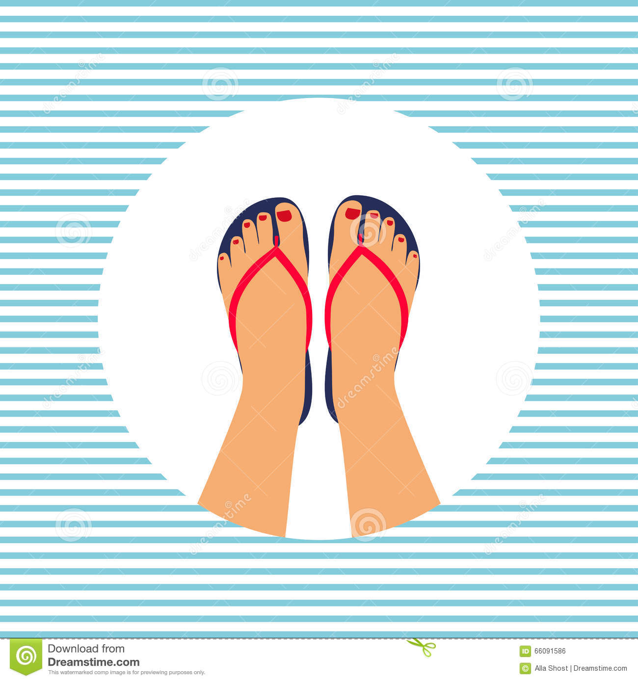 b20a4795e6178 Vector illustration female feet with a pedicure in the summer flip-flops.  summer - concept background. More similar stock illustrations