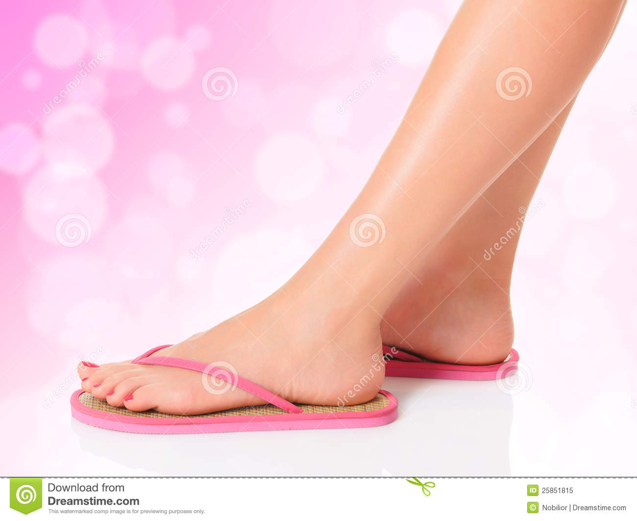 Female Feet In Pink Sandals Royalty Free Stock Photo ...