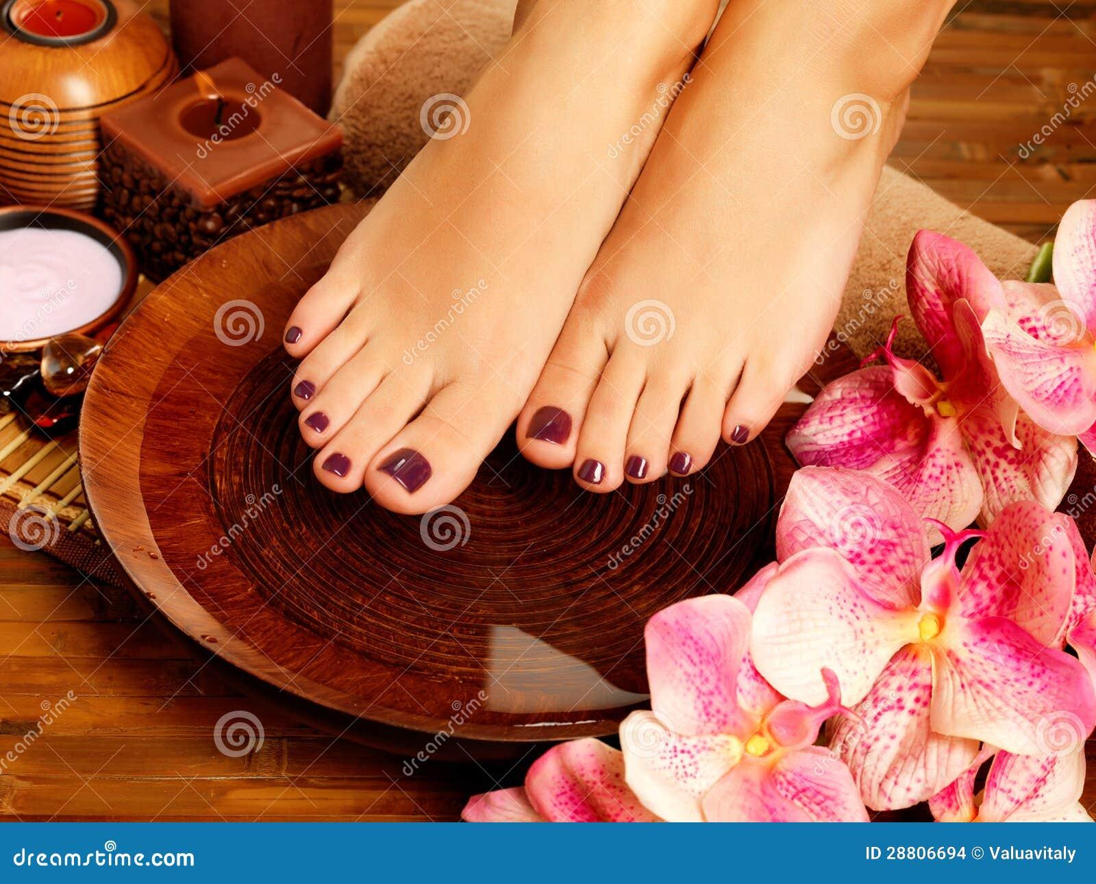 Female Feet At Spa Salon Pedicure Procedure Stock
