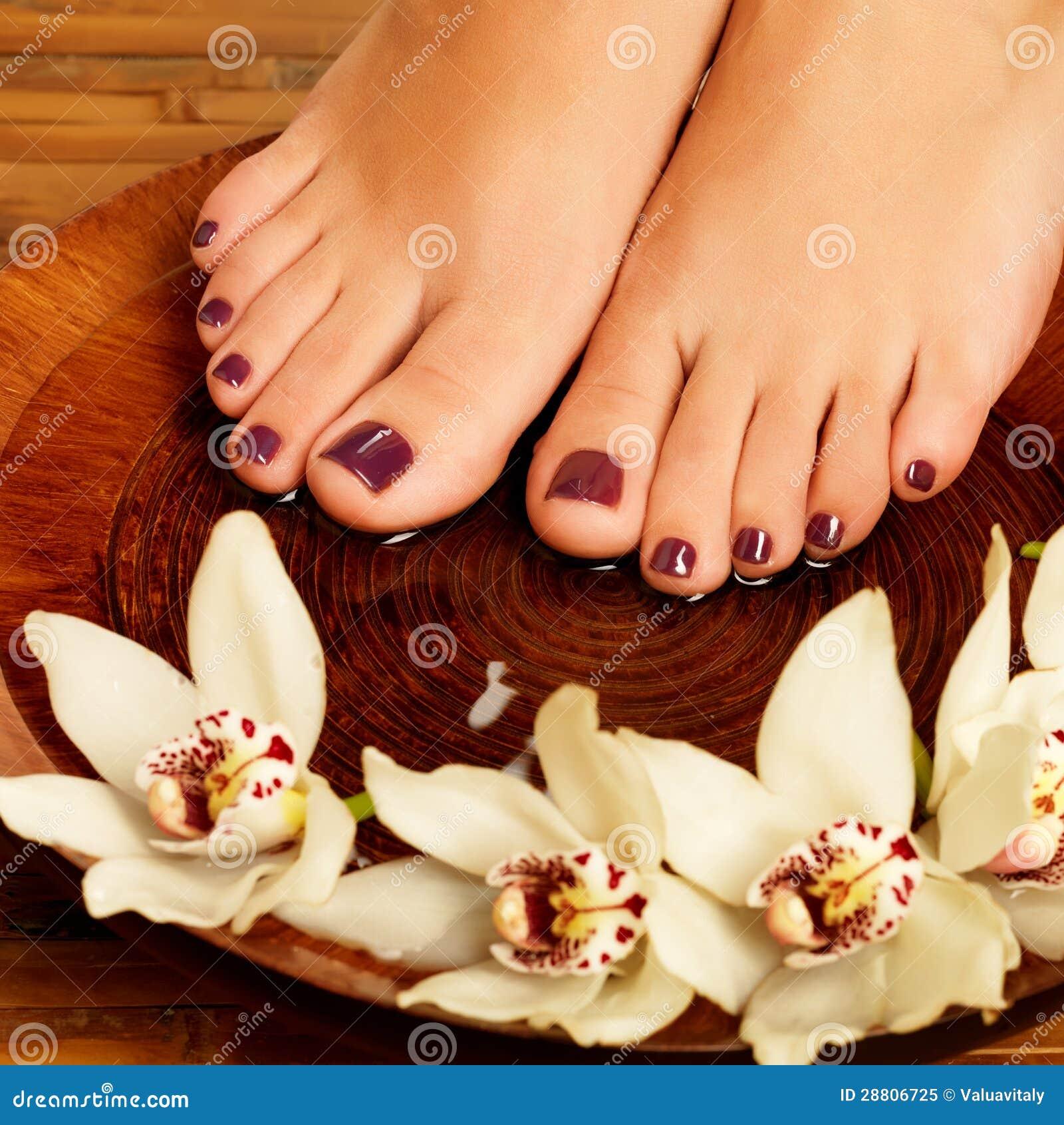 Female Feet At Spa Salon Pedicure Procedure Royalty