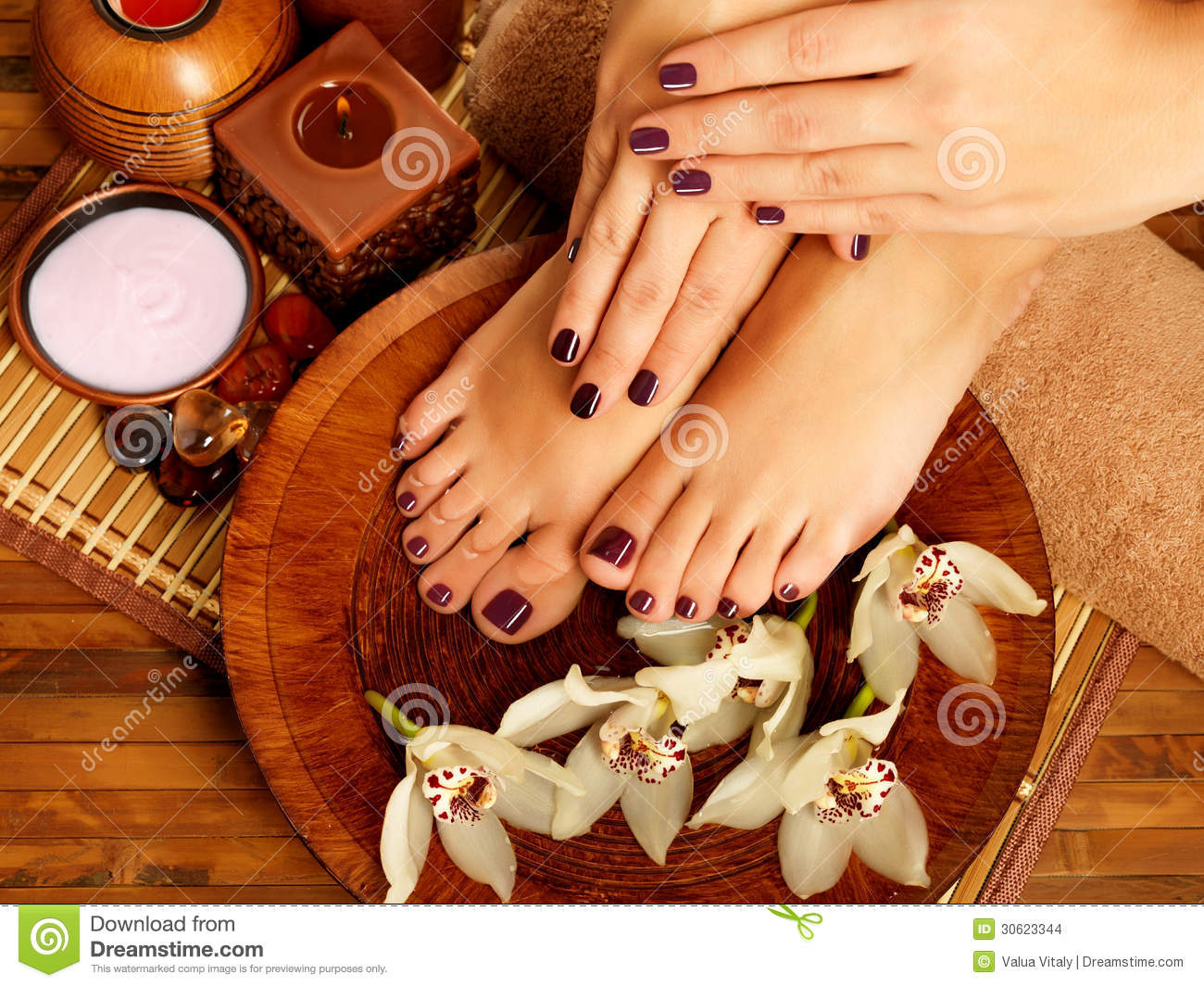 Female feet at spa salon on pedicure procedure stock - Decoration salon photo ...