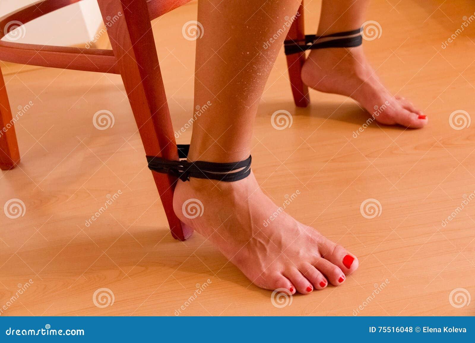 female feet tied to chair stock photo 75516048 - megapixl