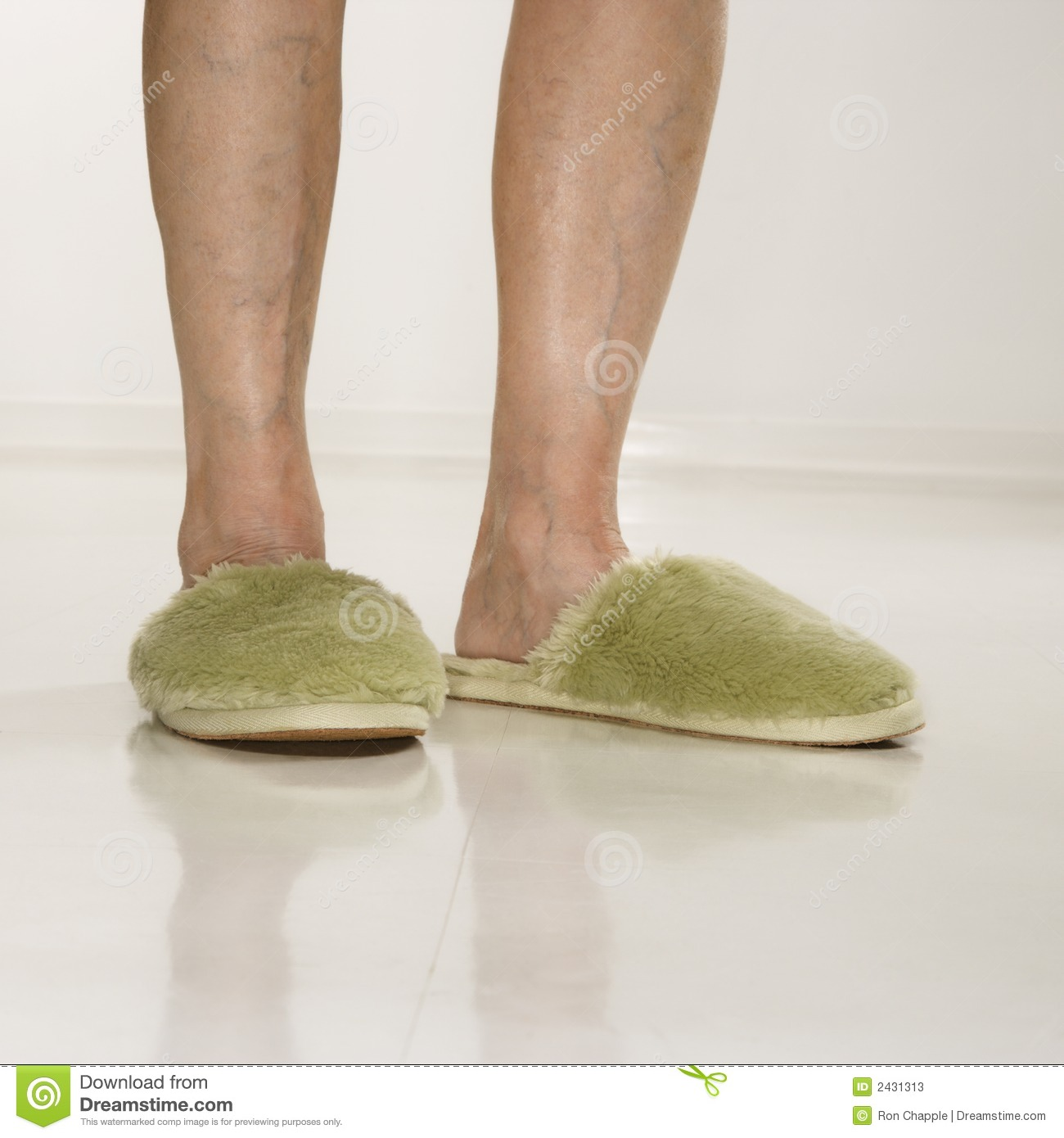 Female Feet Wearing Slippers. Stock Photos - Image: 2431313