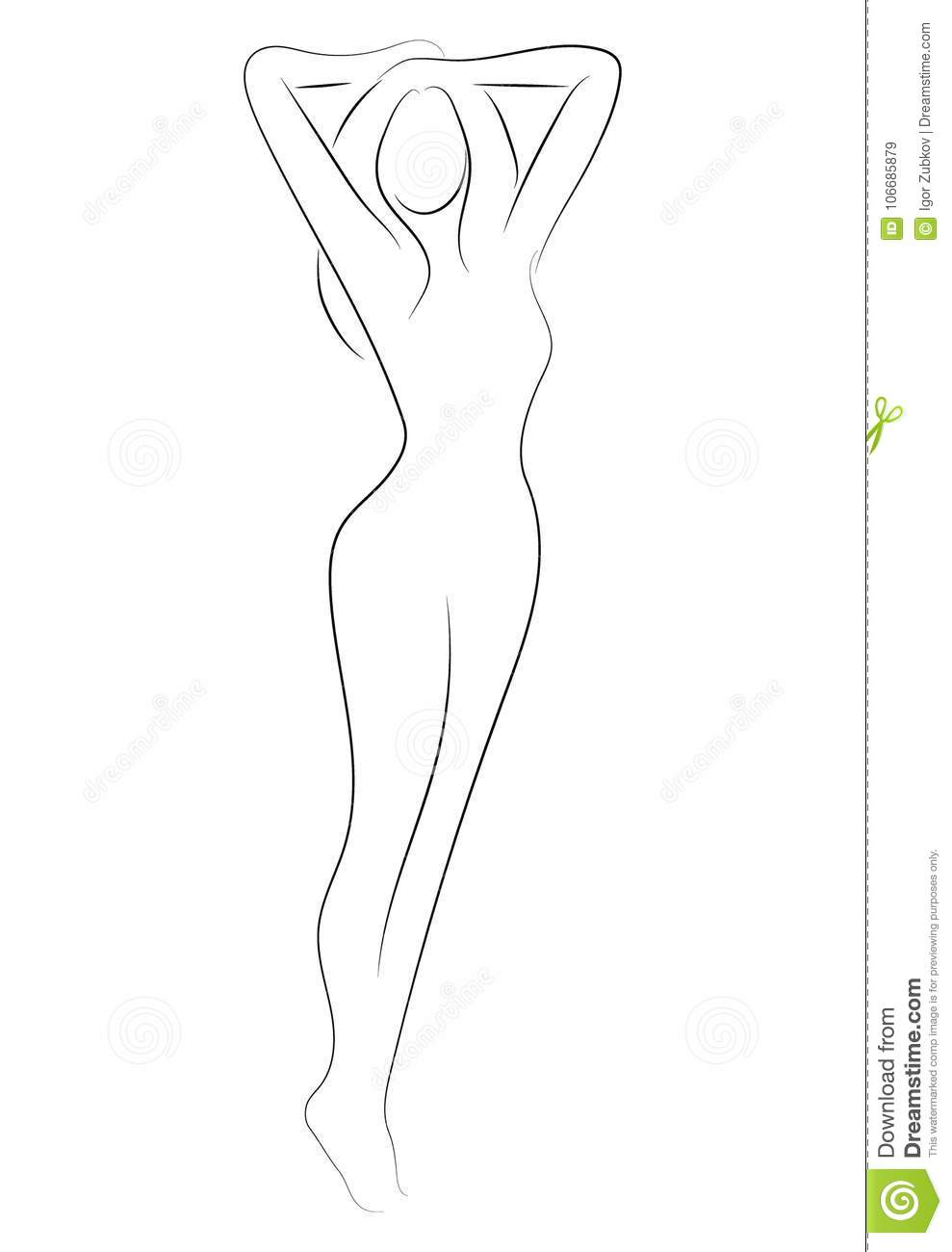 Female Figure Outline Of Young Girl Stylized Slender Body