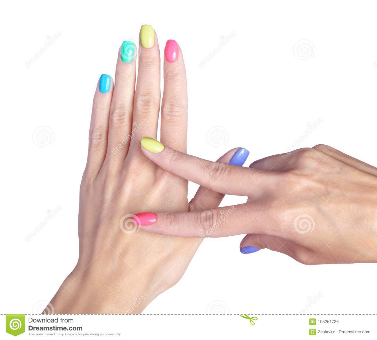 Female Fingers With Fancy Nails Manicure On White Back Stock Photo ...