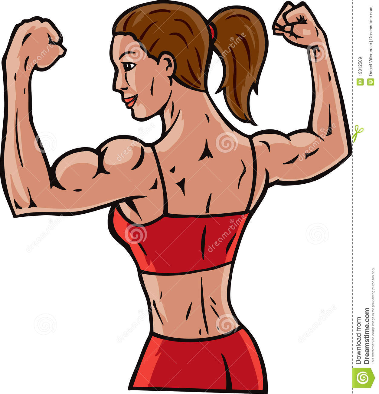 Woman Flexing Her Muscles Showing How Fit She Is