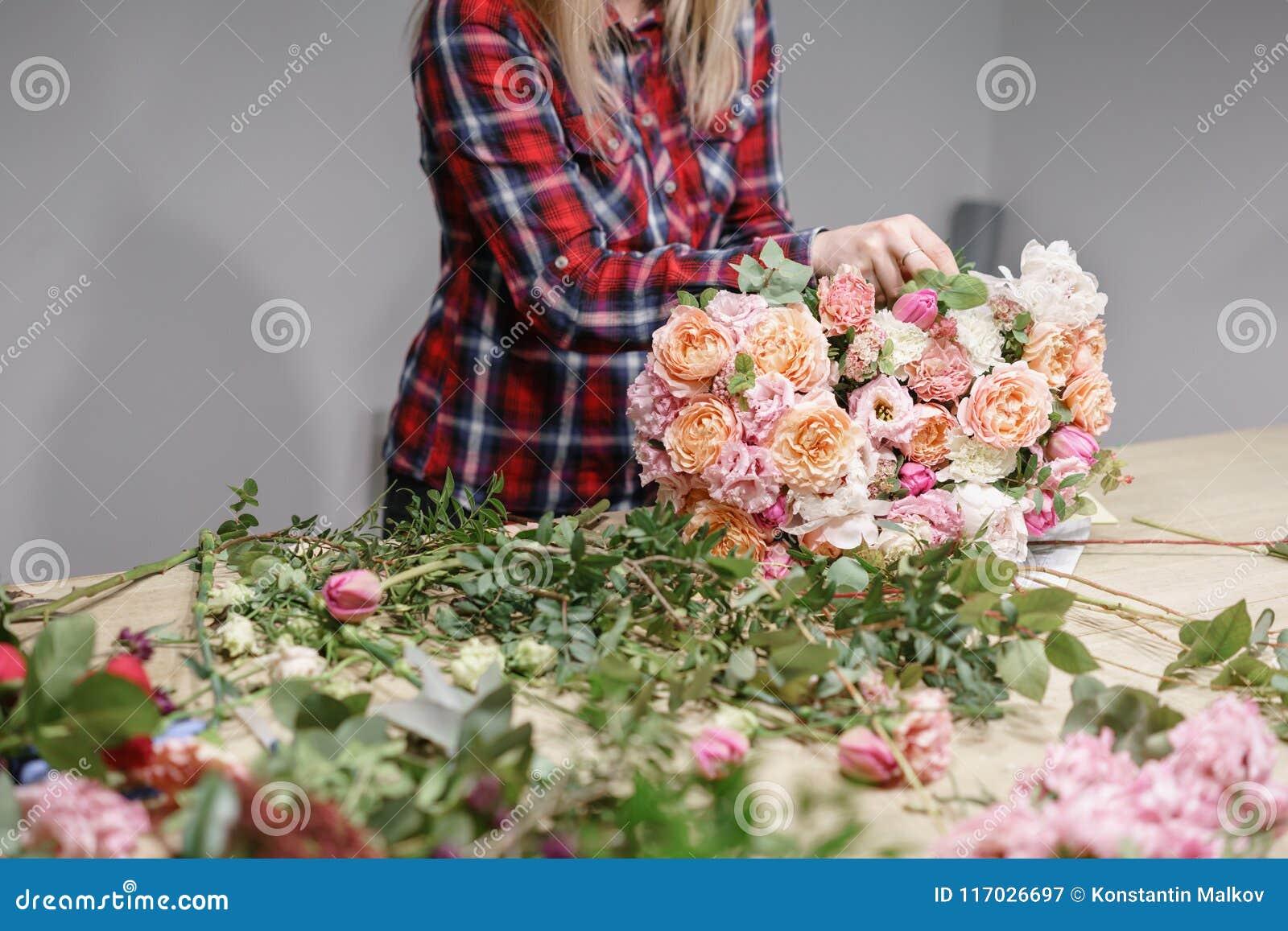 Female Florist Floral Workshop Woman Making A Beautiful Flower