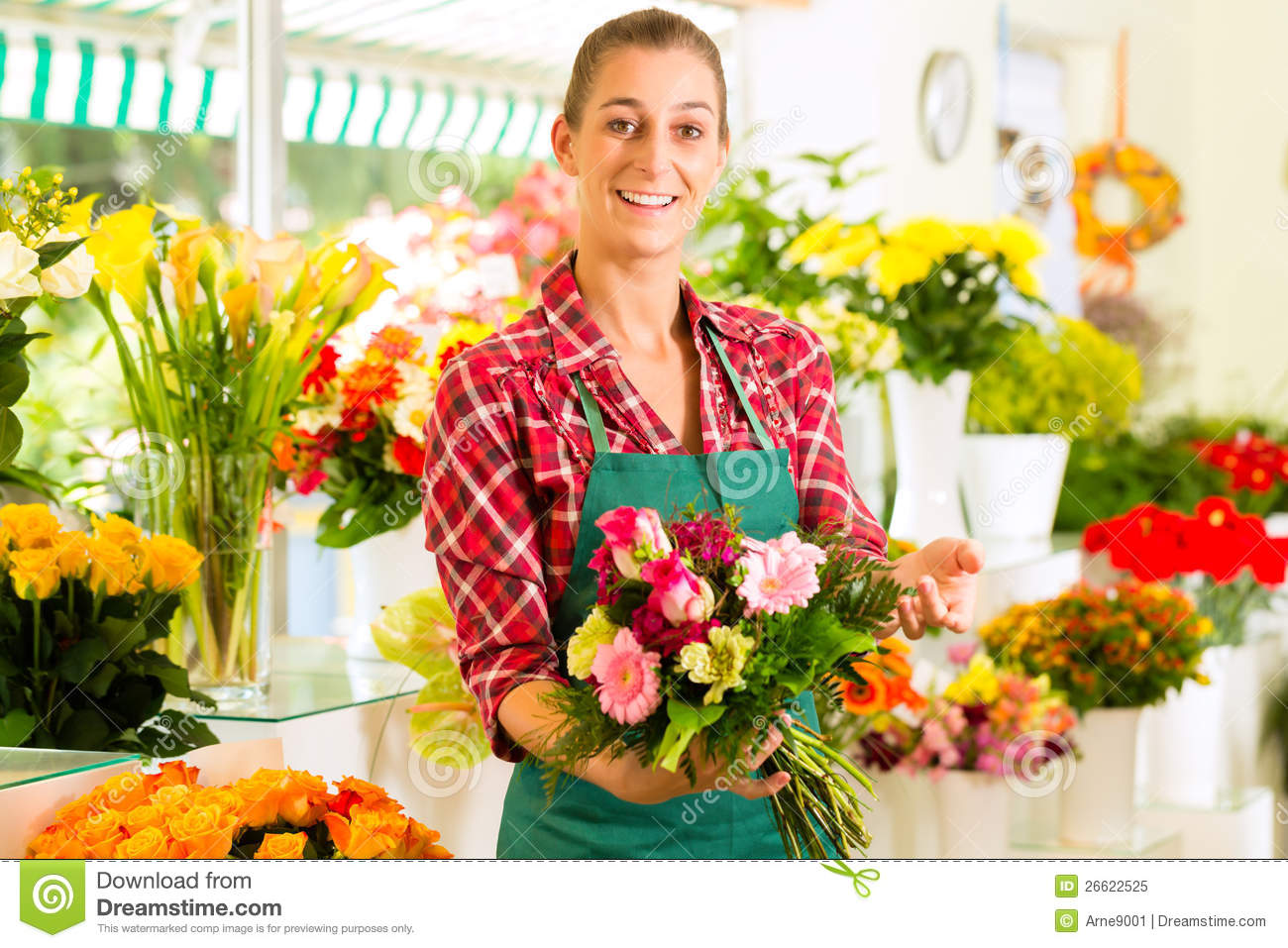 Female Florist In Flower Shop Royalty Free Stock Photo Image 26622525